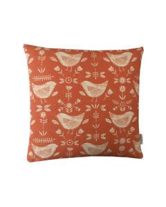 "Scandinavian ""Narvik Birds"" Ochre orange teal dove Grey denim Cushion Covers"