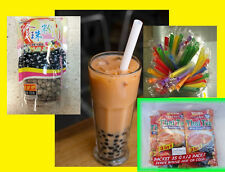 12 bags  thai Milk Tea + Black Tapioca Pearl 8.8oz+ 12 Colorful  Fat Straws