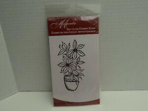 Magenta Self Cling Rubber Stamp Set New ,Flower Pot Flowers