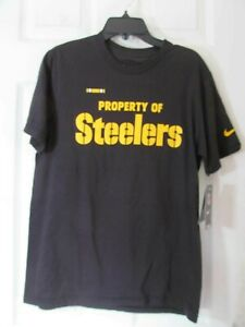 NWT YOUTH MAJESTIC PITTSBURGH STEELERS T-SHIRT PROPERTY OF LOGO GRAPHICS Black