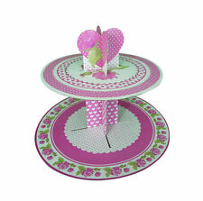 2 tier quality rose cup cake stand pink