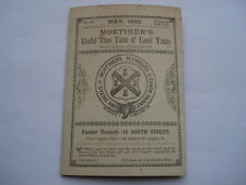 RARE MAY1890 MORTIMERS OF PLYMOUTH TIMETABLE OF LOCAL TRAINS INC TIVERTON JUNC'T