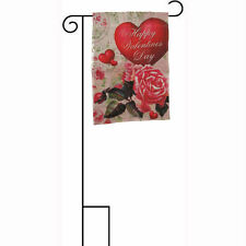 "12x18 12""x18"" Happy Valentines Day Heart and Rose Sleeved w/ Garden Stand Flag"