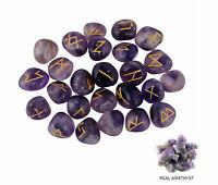 Purple Natural Amethyst Stones Rune Set Healing Reiki Tumble Stones  25 PC