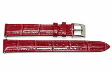 14mm Magenta Padded Stitched Croco Grain Leather Watch Band Fits Timberland