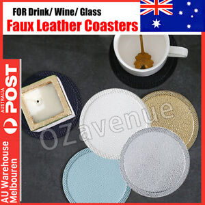 8x PU Leather Coasters with Holder Set Round Cup Mat Pad for Drinks CoasterAUS