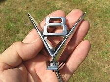 V8 HOOD ORNAMENT METAL BADGE Chrome Emblem *NEW suit FORD Hotrod Ratrod Custom