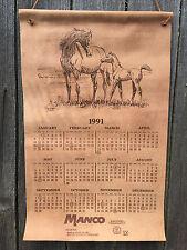 "Rare! 1991 SAM SAVITT Leather Calendar MARE and FOAL Horse 15"" x 23.5"" Art"