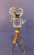 Swarovski Crystal Figurine Crystal Memories Film Movie Camera on Tripod Gold