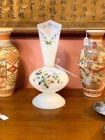 Edwardian Milk Glass -  Handpainted Vase - Circa 1910