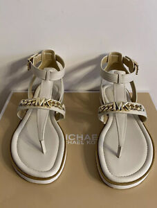 New - Women's Michael Kors Farrow Light Cream Leather Thong Sandals Size 7.5