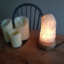 Clear Quartz Lamp on Wooden Base - Hand Crafted - Madagascar Rose Quartz (2 kg)