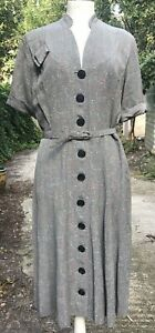 Vintage late 40s  Early 50s Dress button up front grey with red and white flecks