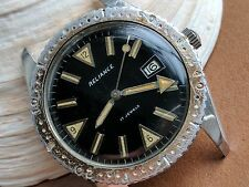 Vintage Reliance Divers/Diving Watch w/Warm Patina,All SS Case,Faded Brown Bezel