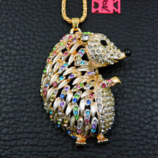 Hot Betsey Johnson Colorful Crystal Cute Hedgehog Animal Necklace Sweater Chain