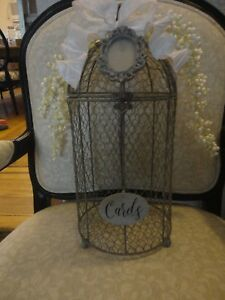 """Personalized Wire & Metal Gray Birdcage Wedding Card Holder 8"""" X 17.5"""""""