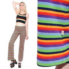 Vtg 70s HANG TEN Surfer Striped RAINBOW High-Waist Bell Bottoms Flared Pants S