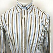 PAL ZILERI L Blue White Brown Striped Dress Shirt Button Down Cotton