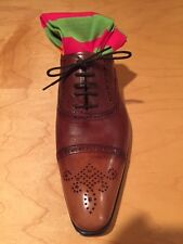 Tan/brown Lizard skin lace up with perforated cap toe-Francesco Benigno