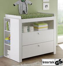 Wickelkommode weiß Babyzimmer Wickeltisch Aufsatz 85x75 cm Set mit Regal Olivia
