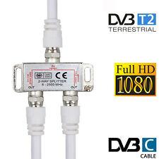 2 fach TV Antennenverteiler/Verteiler TV BK SAT Splitter F-Stecker Adapter Kabel