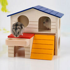 Pet Small Animal Hideout Hamster House Deluxe Two Layers Wooden Hut Play Toys