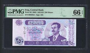 Iraq- 250 Dinars 2002/AH1422 P88 N0093052 Uncirculated Grade 66