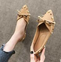 Womens Pearls Pointed toe PU Leather Slip on Loafer Bowtie Casual Flats Shoes SZ