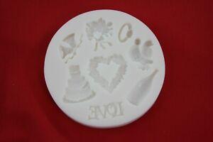 Love Wedding Engagement Valentine Celebrate Silicone Mould Cupcake Icing Fondant