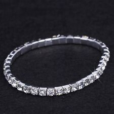 115 - Stretch silver rhinestone single row tennis bracelet fashion jewellery O/s