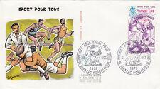 Enveloppe 1er Jour BLANZAC PORCHERESSE 21/10/1978 sport pour tous rugby timbrée