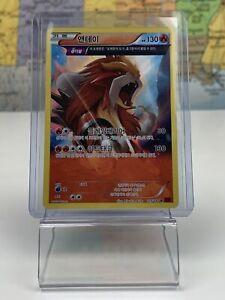 SHIPS SAME DAY Korean Pokemon Card LP Entei Holo 015/081 R XY7 Fire Type 2015