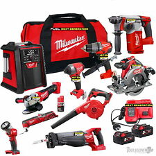MILWAUKEE 18V M18 M12 10 PC LI-ION KIT FUEL BRUSHLESS NEXT GEN II UPGRADES 5.0AH