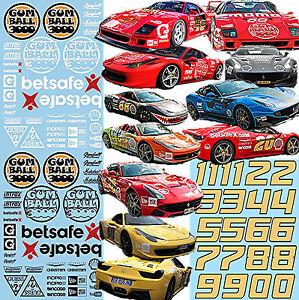 Ferrari Gumball 3000 Lacs Décalcos Rue Course 1:43 Autocollant Décalcomanie