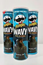 Pringles Wavy Halo Limited Edition MOA Burger Can Xbox Pack Of 3 Containers New
