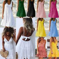 Sleeveless BOHO Dress Women's Shirt Summer Beach Dress Loose Casual Midi Dresses