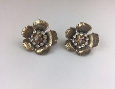 Vintage BOHM Rhinestones Flowers Clip On Earrings