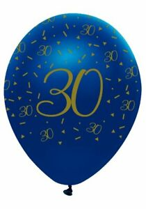 6 Navy & Gold Geode Age 30/30th  Birthday Party Latex Balloons