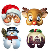 Christmas Party Half Face Mask Variety Pack of 4 Santa, Pud, Snowman & Reindeer