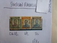 SOUTHERN RHODESIA STAMP S.G. 48. 49. 50 F.U.