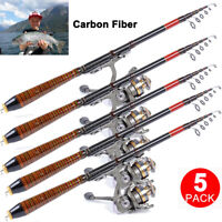 5X 2.1m /82.6FT Carbon Fiber Telescopic Fishing Rod Travel Spinning Rod Pole USA