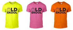 Old School Raver Printed Neon T-Shirt Rave Techno 80s 90s Fun Gift Unisex S-XXL