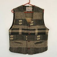 Vtg CREAM TRADITIONAL OUTERWEAR Vest Sz M Med Canada Wool Blanket Print Vest