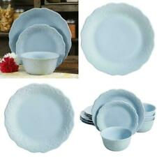 The Pioneer Woman Lace 12-Piece Dinnerware Set, Light Blue durable stoneware NEW
