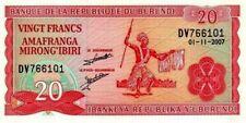 Money of Burundi ▶ P-27d 2007 Note 20 francs World  Banknote unc