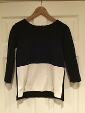 Madewell Black, Navy, & Cream Colorblock 3/4 Sleeve Shirt, Size XS