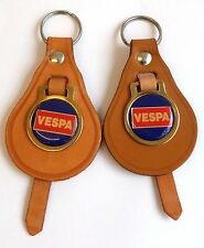 2 X Vespa,Motor Scooter,keyrings,On Vintage Tan Leather 60/70s