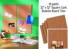 "4 Natural CORK Bulletin BOARD 12""x12"" SQUARE TILES Self-Stick Adhesive Memo Set"