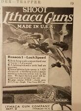 1916 ITHACA GUN COMPANY Original Vintage Small Advertising LOCK SPEED