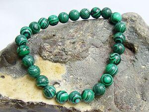 Men's Gemstone 8inch Bracelet Malachite 8mm beads stretchable elasticated